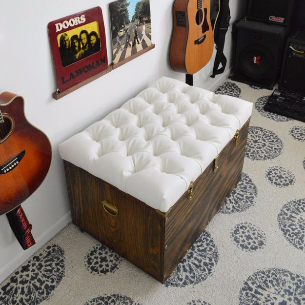 Sewing Projects for The Home - DIY Tufted Storage Ottoman - Free DIY Sewing Patterns, Easy Ideas and Tutorials for Curtains, Upholstery, Napkins, Pillows and Decor #homedecor #diy #sewing