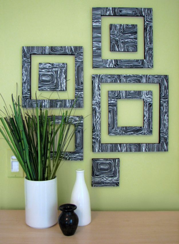 DIY Wall Decor Ideas for Paintings - Creative Easy DIY Wall Art to Make for Living Room, Bedroom, Bathroom, Teen Rooms | DIY Wall Art Patterned Squares | Modern Art Decor for Simple Decorating On A Budget Easy Step By Step Tutorial