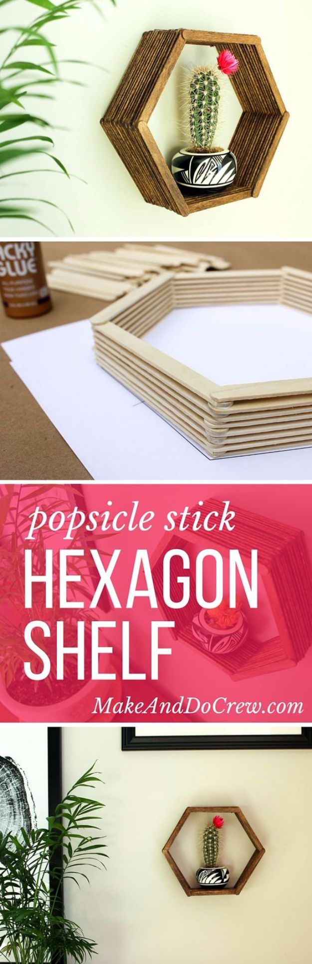 DIY Wall Art Ideas and Do It Yourself Wall Decor for Living Room, Bedroom, Bathroom, Teen Rooms | DIY Wall Art Popsicle Stick Hexagon Shelf | Cheap Ideas for Those On A Budget. Paint Awesome Hanging Pictures With These Easy Step By Step Tutorial