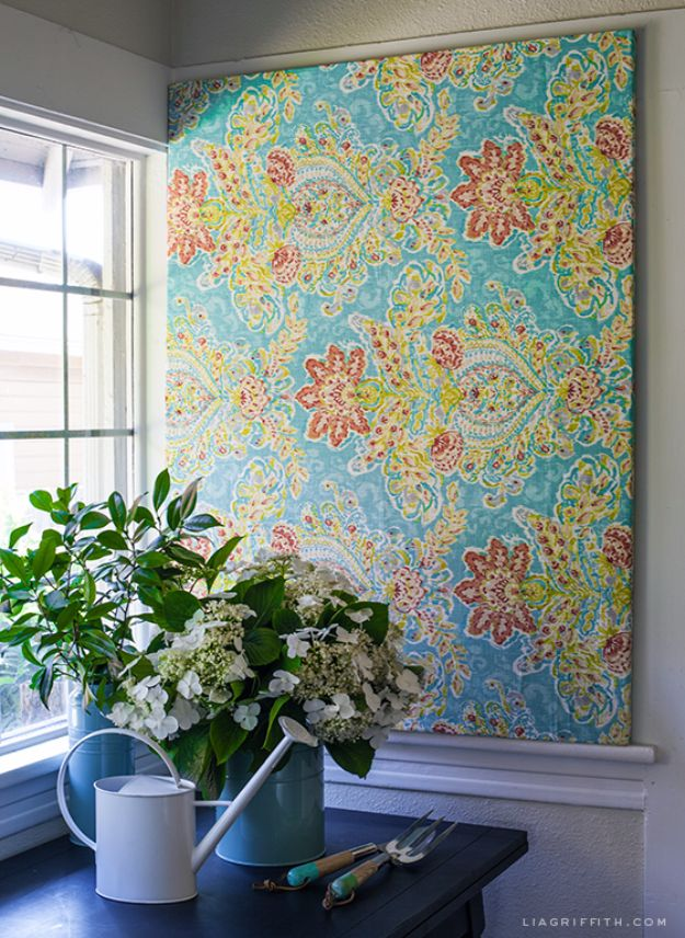 DIY Wall Art Ideas and Do It Yourself Wall Decor for Living Room, Bedroom, Bathroom, Teen Rooms | DIY Wall Art with a Canvas Stretcher frame and Pretty Fabric | Cheap Ideas for Those On A Budget. Paint Awesome Hanging Pictures With These Easy Step By Step Tutorial