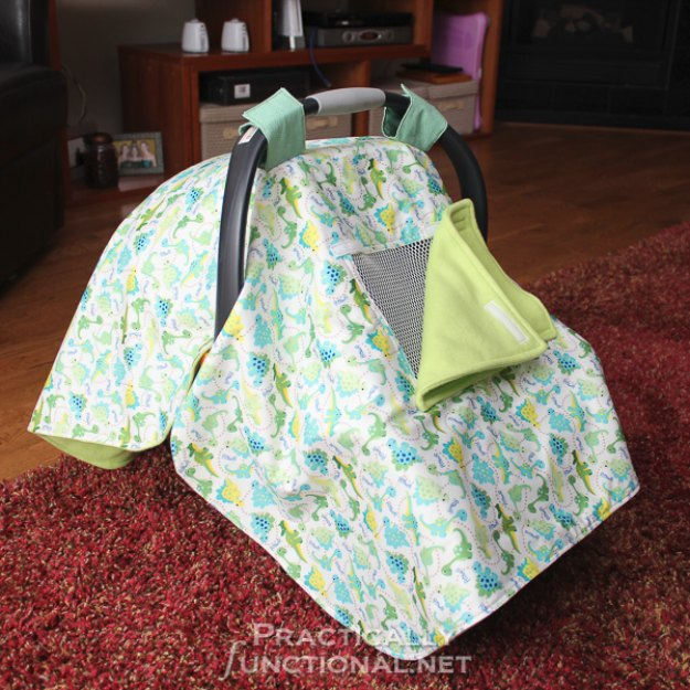 DIY Baby Gifts - DIY Waterproof Car Seat Canopy - Homemade Baby Shower Presents and Creative, Cheap Gift Ideas for Boys and Girls - Unique Gifts for the Mom and Dad to Be - Blankets, Baskets, Burp Cloths and Easy No Sew Projects #diybaby #babygifts #babyshower