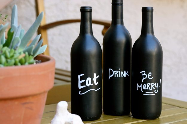 Wine Bottle DIY Crafts - DIY Wine Bottle Art with Chalkboard Paint - Projects for Lights, Decoration, Gift Ideas, Wedding, Christmas. Easy Cut Glass Ideas for Home Decor on Pinterest