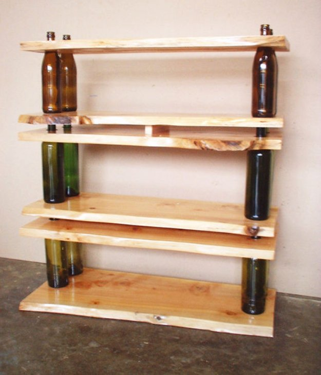 Wine Bottle DIY Crafts - DIY Wine Bottle Shelf - Projects for Lights, Decoration, Gift Ideas, Wedding, Christmas. Easy Cut Glass Ideas for Home Decor on Pinterest