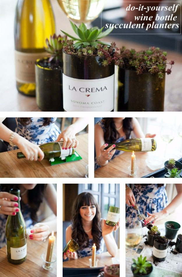 Wine Bottle DIY Crafts - DIY Wine Bottle Succulent Planters - Projects for Lights, Decoration, Gift Ideas, Wedding, Christmas. Easy Cut Glass Ideas for Home Decor on Pinterest