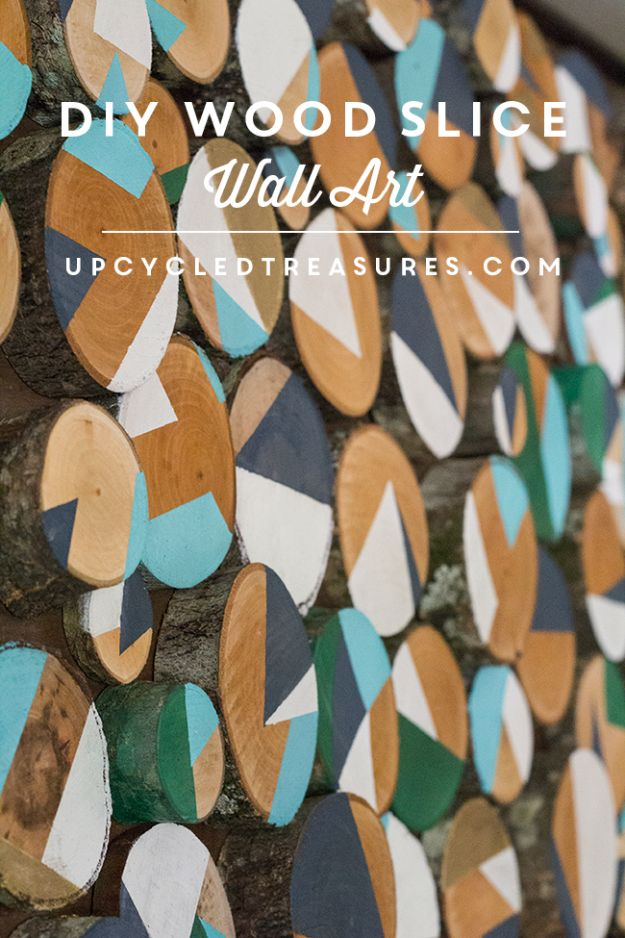 DIY Wall Art Ideas and Do It Yourself Wall Decor for Living Room, Bedroom, Bathroom, Teen Rooms | DIY Wood Slice Wall Art | Cheap Ideas for Those On A Budget. Paint Awesome Hanging Pictures With These Easy Step By Step Tutorial