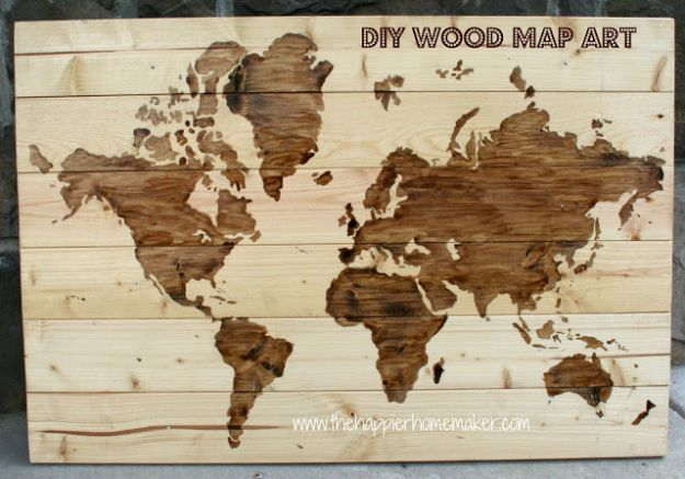 DIY Wall Art Ideas and Do It Yourself Wall Decor for Living Room, Bedroom, Bathroom, Teen Rooms | DIY Wooden World Map Wall Art | Cheap Ideas for Those On A Budget. Paint Awesome Hanging Pictures With These Easy Step By Step Tutorial