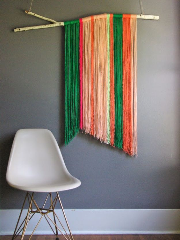 DIY Wall Art Ideas - DIY Boho Wall Decor for Living Room, Bedroom, Bathroom, Teen Rooms | DIY Yarn Wall Art Hanging | Cheap Ideas for Making Wall Decor Budget. Painted Awesome Hanging Pictures With These Easy Step By Step Tutorial
