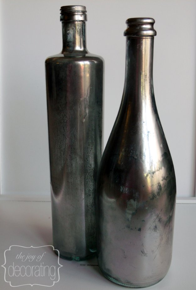Wine Bottle DIY Crafts - DIY Z Gallerie Inspired Mercury Wine Bottles - Projects for Lights, Decoration, Gift Ideas, Wedding, Christmas. Easy Cut Glass Ideas for Home Decor on Pinterest