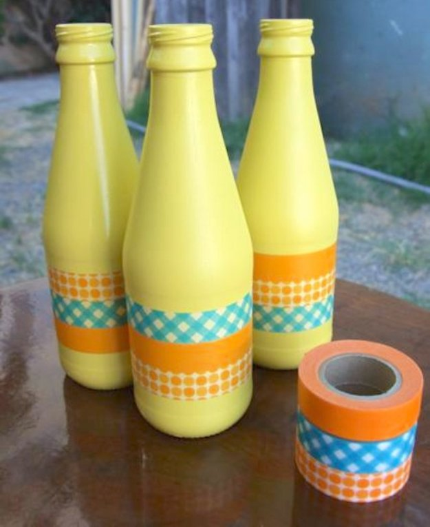 Wine Bottle DIY Crafts - Decorating Wine Bottles with Washi Tape - Projects for Lights, Decoration, Gift Ideas, Wedding, Christmas. Easy Cut Glass Ideas for Home Decor on Pinterest