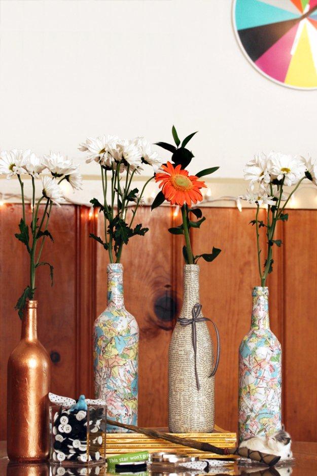 Wine Bottle Diy Crafts Decoupaged Wine Bottle Projects For