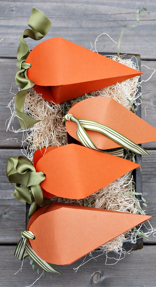 DIY Easter Decorations - Decor Ideas for the Home and Table - Easter Carrot Treat Boxes - Cute Easter Wreaths, Cheap and Easy Dollar Store Crafts for Kids. Vintage and Rustic Centerpieces and Mantel Decorations. http://diyjoy.com/diy-easter-decorations