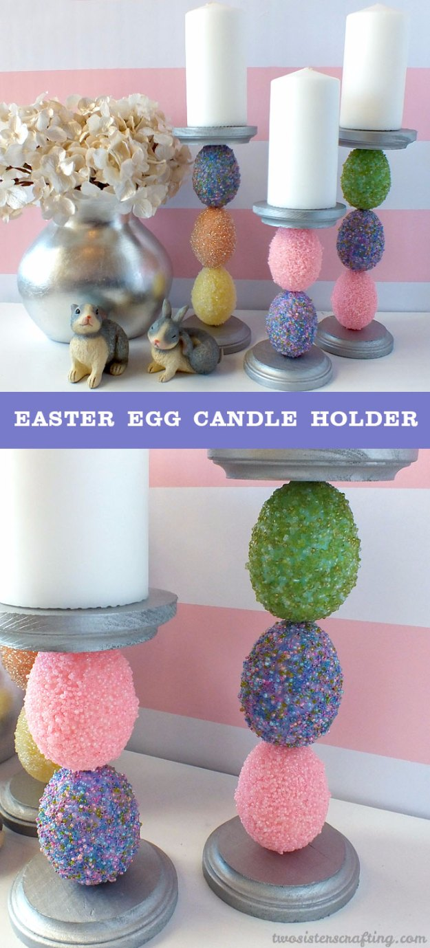 DIY Easter Decorations - Decor Ideas for the Home and Table - Easter Egg Candle Holder - Cute Easter Wreaths, Cheap and Easy Dollar Store Crafts for Kids. Vintage and Rustic Centerpieces and Mantel Decorations.
