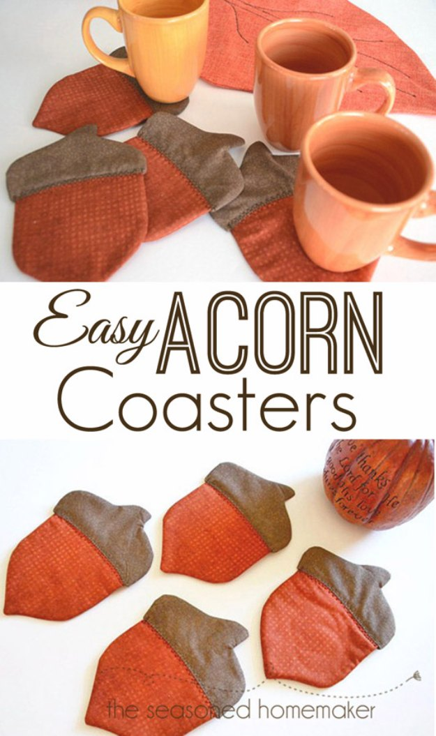 Sewing Projects for The Home - Easy Acorn Coasters - Free DIY Sewing Patterns, Easy Ideas and Tutorials for Curtains, Upholstery, Napkins, Pillows and Decor #homedecor #diy #sewing