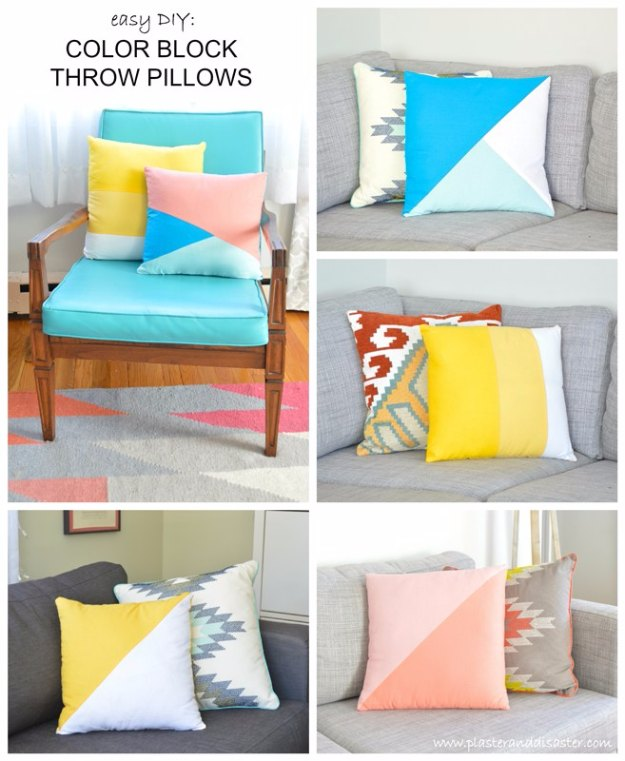 Sewing Projects for The Home - Easy DIY Colorblock Throw Pillows - Free DIY Sewing Patterns, Easy Ideas and Tutorials for Curtains, Upholstery, Napkins, Pillows and Decor #homedecor #diy #sewing