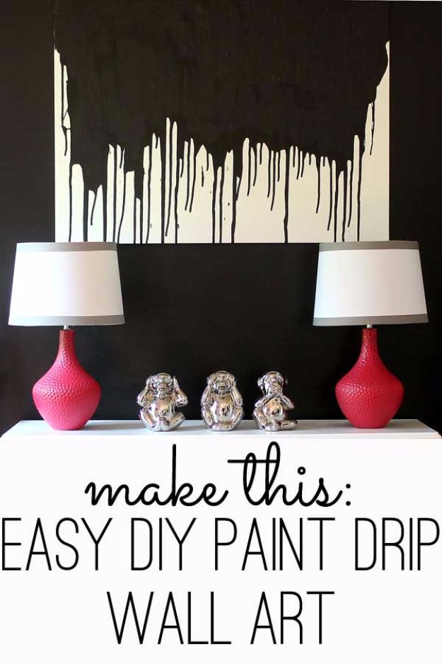 DIY Wall Art Ideas and Do It Yourself Wall Decor for Living Room, Bedroom, Bathroom, Teen Rooms | Easy DIY Paint Drip Wall Art | Cheap Ideas for Those On A Budget. Paint Awesome Hanging Pictures With These Easy Step By Step Tutorial