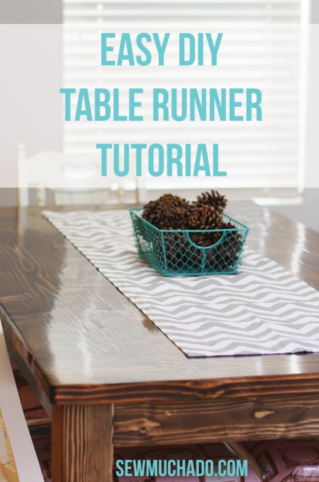 Sewing Projects for The Home - Easy DIY Table Runner Tutorial - Free DIY Sewing Patterns, Easy Ideas and Tutorials for Curtains, Upholstery, Napkins, Pillows and Decor #homedecor #diy #sewing