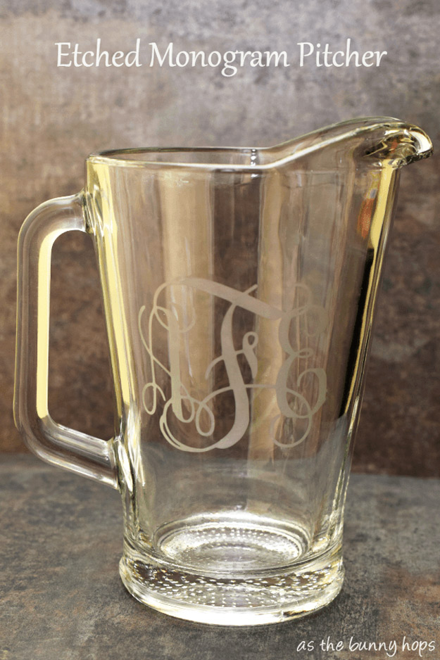 Expensive Looking DIY Wedding Gift Ideas - Etched Monogram Pitcher - Easy and Unique Homemade Gift Ideas for Bride and Groom - Cheap Presents You Can Make for the Couple- for the Home, From The Kids, Personalized Ideas for Parents and Bridesmaids | http://diyjoy.com/cheap-diy-wedding-gifts