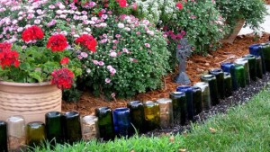 DIY Wine Bottle Edging For Your Garden