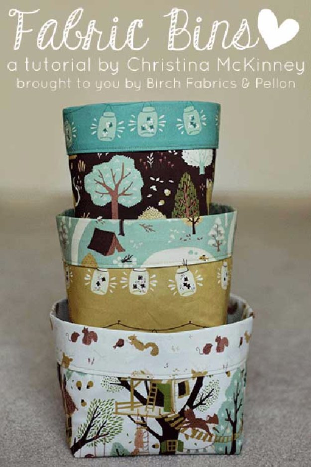 Sewing Projects for The Home - Fabric Bins - Free DIY Sewing Patterns, Easy Ideas and Tutorials for Curtains, Upholstery, Napkins, Pillows and Decor #homedecor #diy #sewing