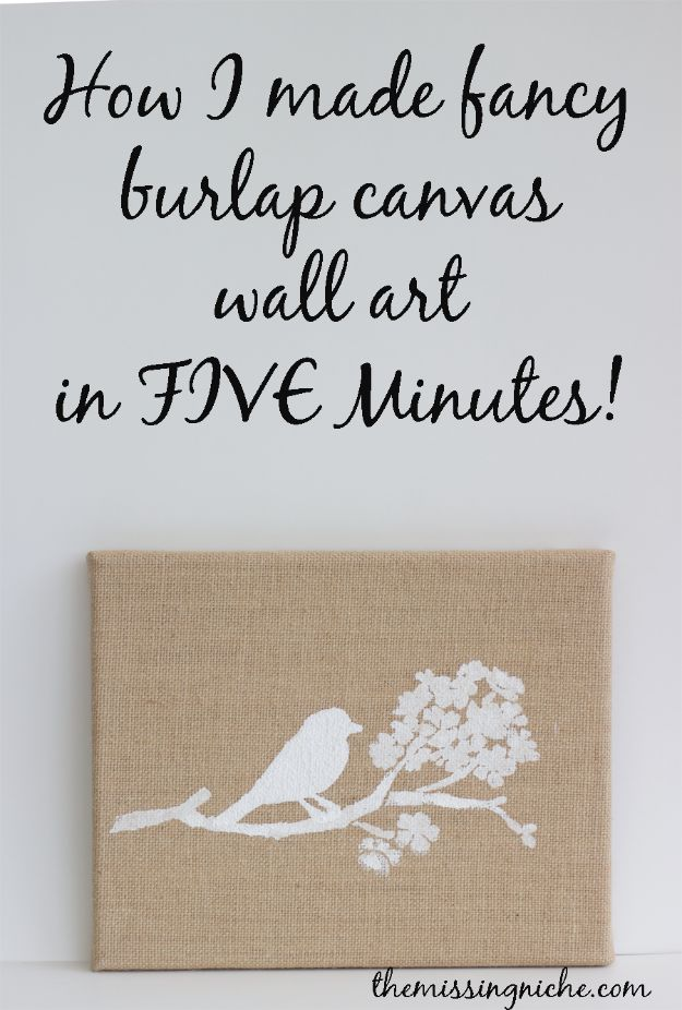 DIY Wall Art Ideas and Do It Yourself Wall Decor for Living Room, Bedroom, Bathroom, Teen Rooms | Fancy Burlap Canvas Wall Art in 5 Minutes | Cheap Ideas for Those On A Budget. Paint Awesome Hanging Pictures With These Easy Step By Step Tutorial
