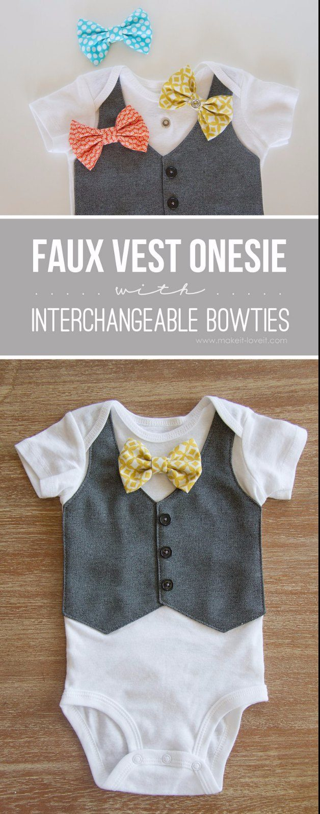 DIY Baby Gifts - Faux Vest Onesie with Interchangeable Bowties - Homemade Baby Shower Presents and Creative, Cheap Gift Ideas for Boys and Girls - Unique Gifts for the Mom and Dad to Be - Blankets, Baskets, Burp Cloths and Easy No Sew Projects #diybaby #babygifts #babyshower