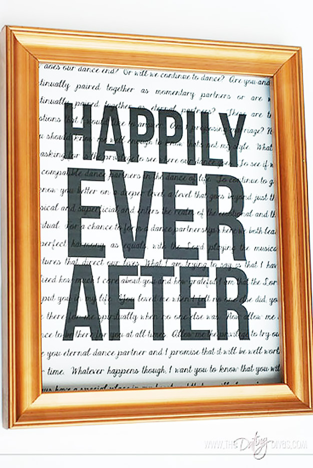 Expensive Looking DIY Wedding Gift Ideas - Framed Print Wedding Gift - Easy and Unique Homemade Gift Ideas for Bride and Groom - Cheap Presents You Can Make for the Couple- for the Home, From The Kids, Personalized Ideas for Parents and Bridesmaids #diywedding #weddinggifts #diygifts