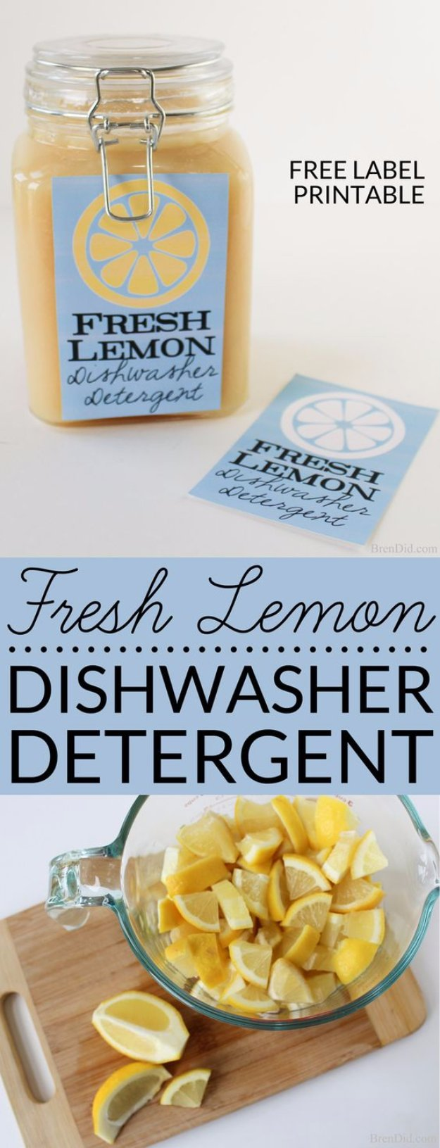 Best Natural Homemade DIY Cleaners and Recipes - Fresh Lemon Dishwasher Detergent Recipe - All Purposed Home Care and Cleaning with Vinegar, Essential Oils and Other Natural Ingredients For Cleaning Bathroom, Kitchen, Floors, Laundry, Furniture and More