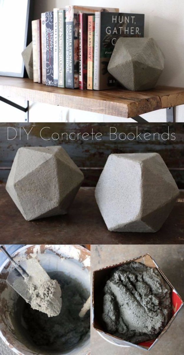 43 DIY concrete crafts - Geometric Concrete Bookends- Cheap and creative projects and tutorials for countertops and ideas for floors, patio and porch decor, tables, planters, vases, frames, jewelry holder, home decor and DIY gifts #gifts #diy