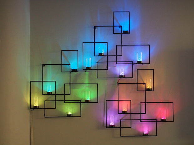 DIY Wall Art Ideas and Do It Yourself Wall Decor for Living Room, Bedroom, Bathroom, Teen Rooms | Geometric Neon Lights Wall Art Sconces | Cheap Ideas for Those On A Budget. Paint Awesome Hanging Pictures With These Easy Step By Step Tutorial