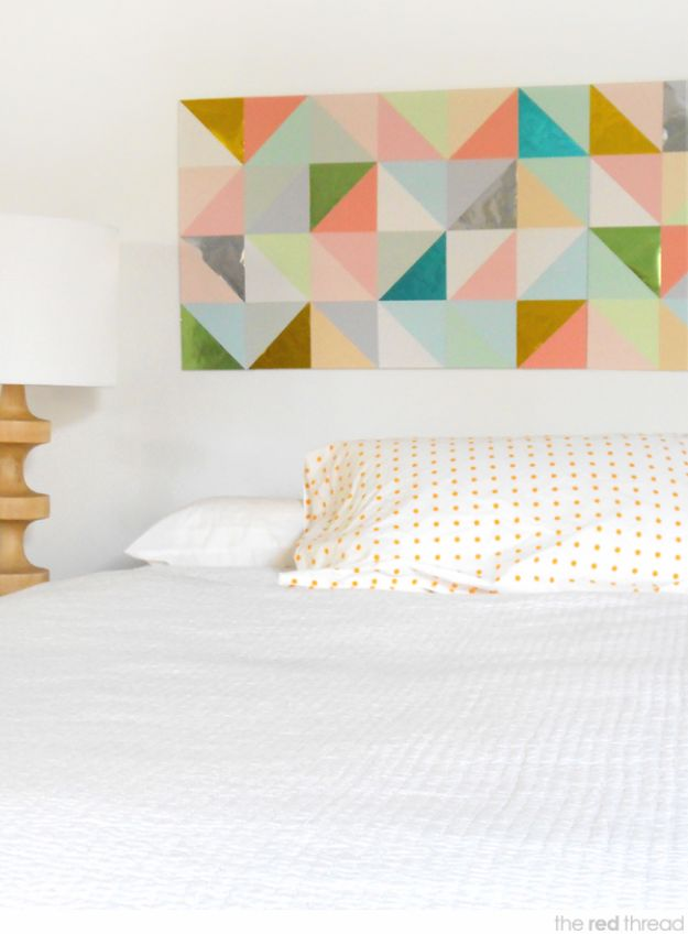 DIY Wall Art Ideas and Do It Yourself Wall Decor for Living Room, Bedroom, Bathroom, Teen Rooms | Geometric Paper Patchwork Wall Art | Cheap Ideas for Those On A Budget. Paint Awesome Hanging Pictures With These Easy Step By Step Tutorial