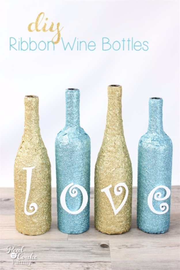 Wine Bottle DIY Crafts - Glittery Ribbon Wine Bottle Craft - Projects for Lights, Decoration, Gift Ideas, Wedding, Christmas. Easy Cut Glass Ideas for Home Decor on Pinterest