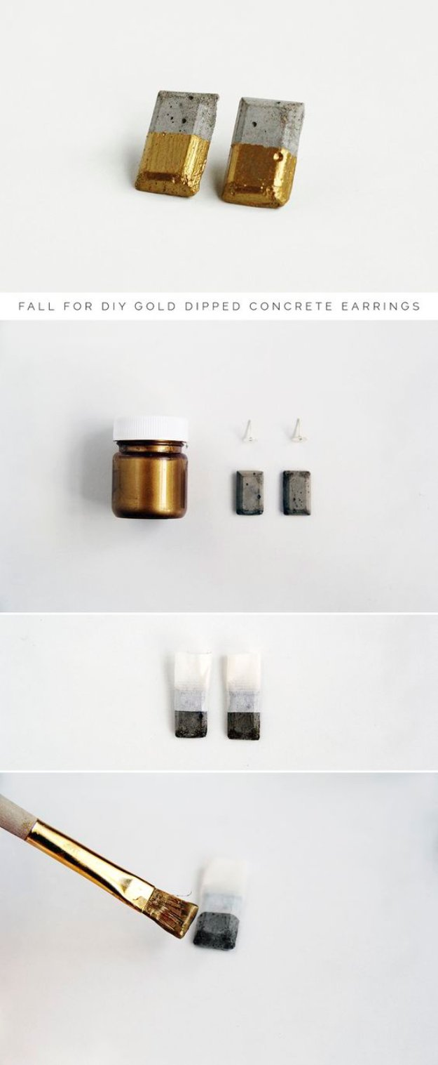 43 DIY concrete crafts - Gold Dipped Concrete Earrings- Cheap and creative projects and tutorials for countertops and ideas for floors, patio and porch decor, tables, planters, vases, frames, jewelry holder, home decor and DIY gifts #gifts #diy