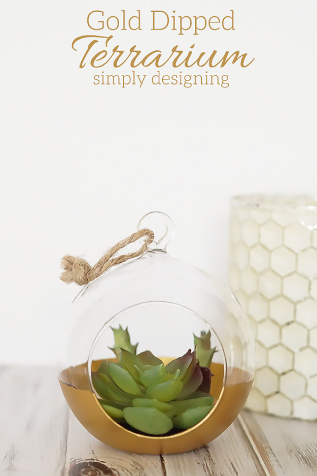Expensive Looking DIY Wedding Gift Ideas - Gold Dipped Terrarium - Easy and Unique Homemade Gift Ideas for Bride and Groom - Cheap Presents You Can Make for the Couple- for the Home, From The Kids, Personalized Ideas for Parents and Bridesmaids | http://diyjoy.com/cheap-diy-wedding-gifts