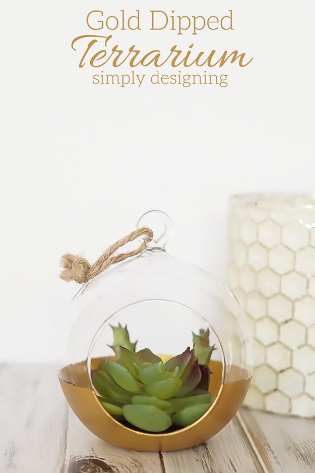 Expensive Looking Diy Wedding Gift Ideas Gold Dipped Terrarium