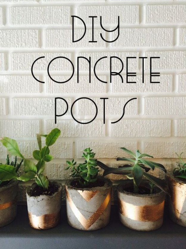 43 DIY concrete crafts - Gold Painted Concrete Succulent Pots- Cheap and creative projects and tutorials for countertops and ideas for floors, patio and porch decor, tables, planters, vases, frames, jewelry holder, home decor and DIY gifts #gifts #diy