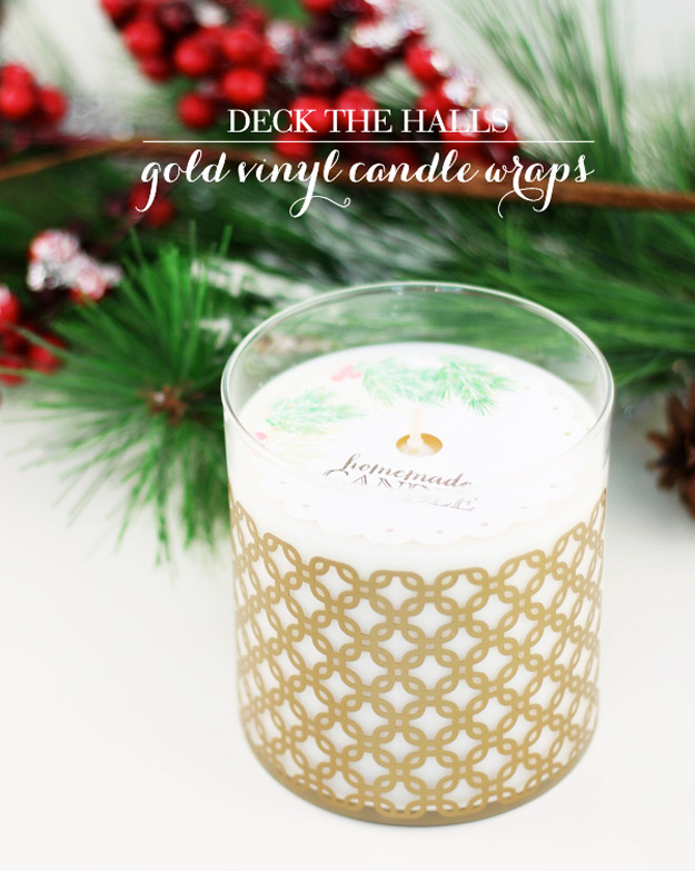 Expensive Looking DIY Wedding Gift Ideas - Gold Vinyl Candle Wraps - Easy and Unique Homemade Gift Ideas for Bride and Groom - Cheap Presents You Can Make for the Couple- for the Home, From The Kids, Personalized Ideas for Parents and Bridesmaids | http://diyjoy.com/cheap-diy-wedding-gifts