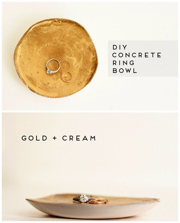 43 DIY concrete crafts - Gold and Cream Painted Concrete Ring Bowl- Cheap and creative projects and tutorials for countertops and ideas for floors, patio and porch decor, tables, planters, vases, frames, jewelry holder, home decor and DIY gifts #gifts #diy-