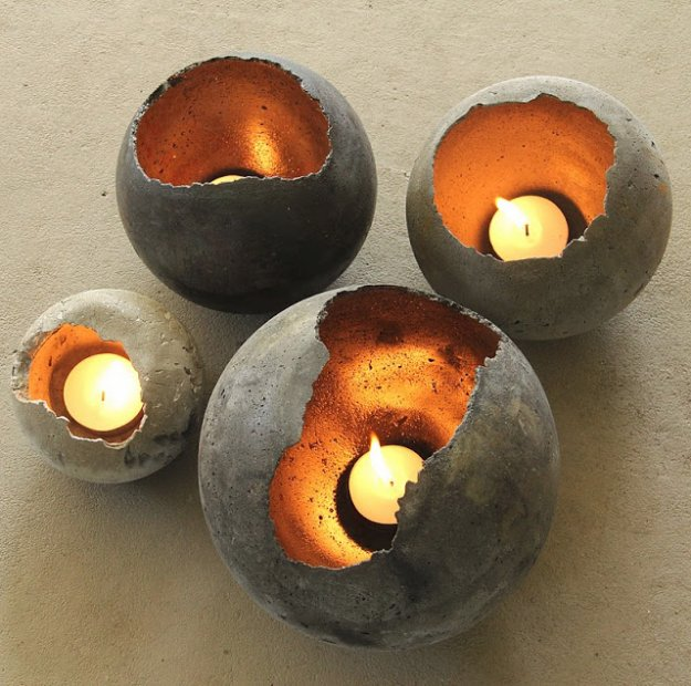 43 DIY concrete crafts - Hand Blown Concrete Bowls- Cheap and creative projects and tutorials for countertops and ideas for floors, patio and porch decor, tables, planters, vases, frames, jewelry holder, home decor and DIY gifts.  http://diyjoy.com/diy-concrete-crafts-projects