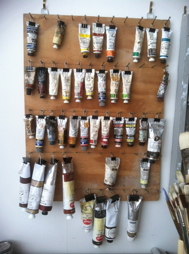 DIY Craft Room Ideas and Craft Room Organization Projects -  Hanging Paint Storage  - Cool Ideas for Do It Yourself Craft Storage - fabric, paper, pens, creative tools, crafts supplies and sewing notions |   http://diyjoy.com/craft-room-organization