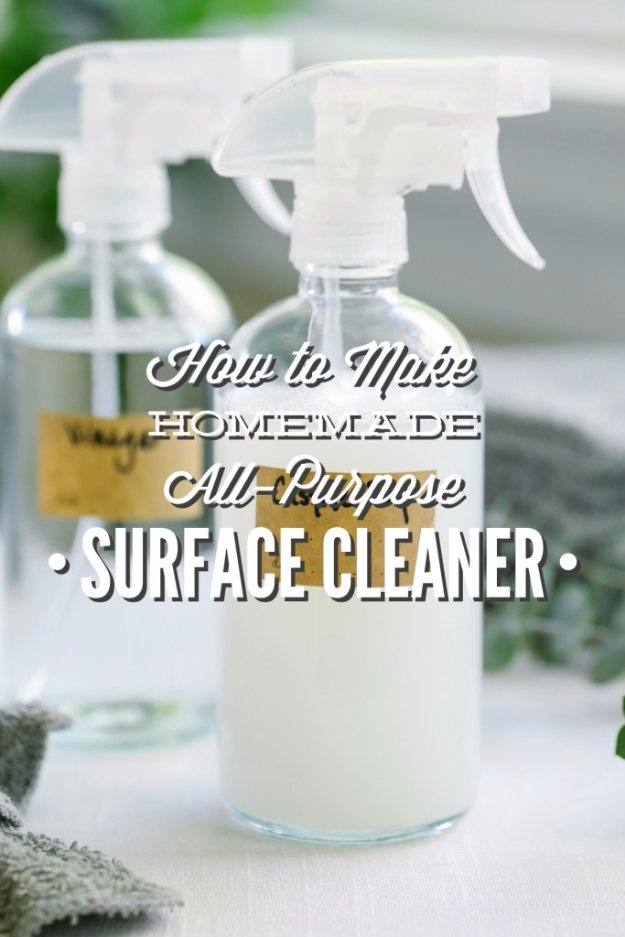 Best Natural Homemade DIY Cleaners and Recipes - Homemade All Purpose Surface CLeaner Recipe - All Purposed Home Care and Cleaning with Vinegar, Essential Oils and Other Natural Ingredients For Cleaning Bathroom, Kitchen, Floors, Laundry, Furniture and More