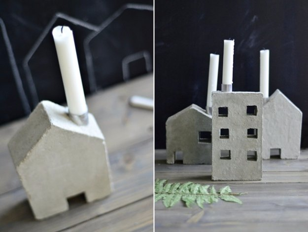 43 DIY concrete crafts - House and Building Candle Concrete Holders- Cheap and creative projects and tutorials for countertops and ideas for floors, patio and porch decor, tables, planters, vases, frames, jewelry holder, home decor and DIY gifts #gifts #diy-