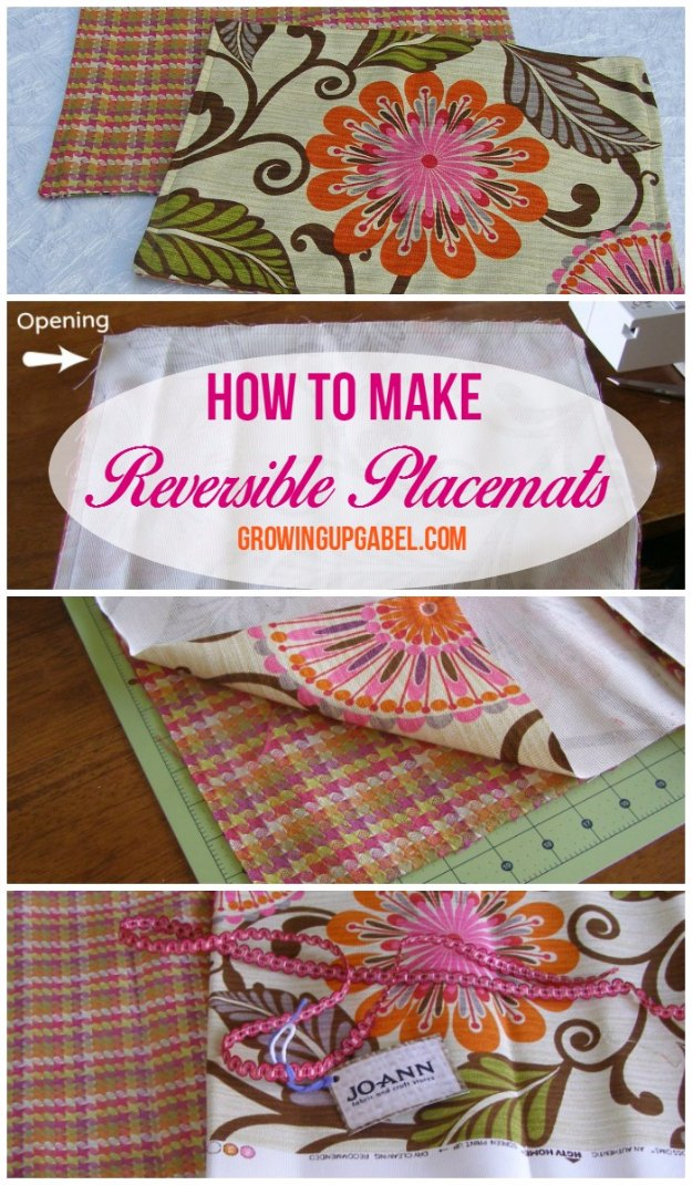 Sewing Projects for The Home - How To Make Reversible Placemats - Free DIY Sewing Patterns, Easy Ideas and Tutorials for Curtains, Upholstery, Napkins, Pillows and Decor #homedecor #diy #sewing