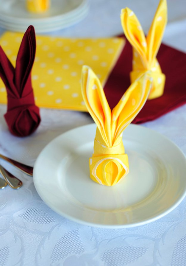 DIY Easter Decorations - Decor Ideas for the Home and Table - How to Fold a Napkin Into a Bunny - Cute Easter Wreaths, Cheap and Easy Dollar Store Crafts for Kids. Vintage and Rustic Centerpieces and Mantel Decorations.