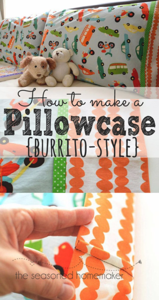 Sewing Projects for The Home - How to Make a Pillowcase Burrito Style - Free DIY Sewing Patterns, Easy Ideas and Tutorials for Curtains, Upholstery, Napkins, Pillows and Decor #homedecor #diy #sewing