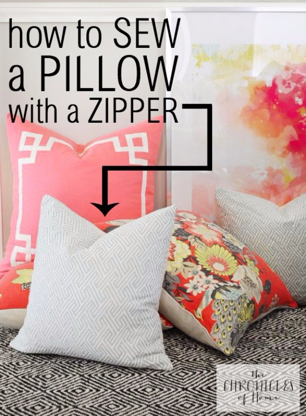 Sewing Projects for The Home - How to Sew a Pillow with a Zipper - Free DIY Sewing Patterns, Easy Ideas and Tutorials for Curtains, Upholstery, Napkins, Pillows and Decor #homedecor #diy #sewing