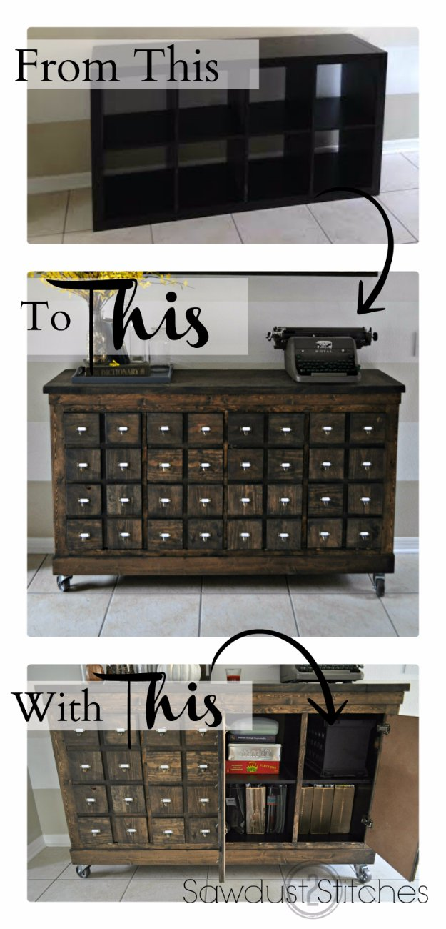 IKEA Hack and DIY Ideas for Furniture - Room Decor DYI Projects and Home Decor - Creative and Cheap Bedroom, Living Room and Kitchen Furniture - DYI Rustic Apothecary Makeover Idea for Living Room or Bedroom Decor