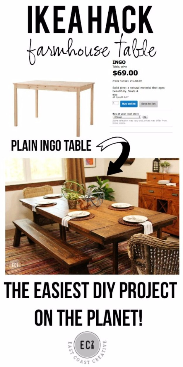 IKEA Hack DIY Farmhouse Table Tutorial - IKEA Hack and DIY Ideas for Furniture - Room Decor DYI Projects and Home Decor - Creative and Cheap Bedroom, Living Room and Kitchen Furniture - Easy DIY Decor Ideas on A Budget