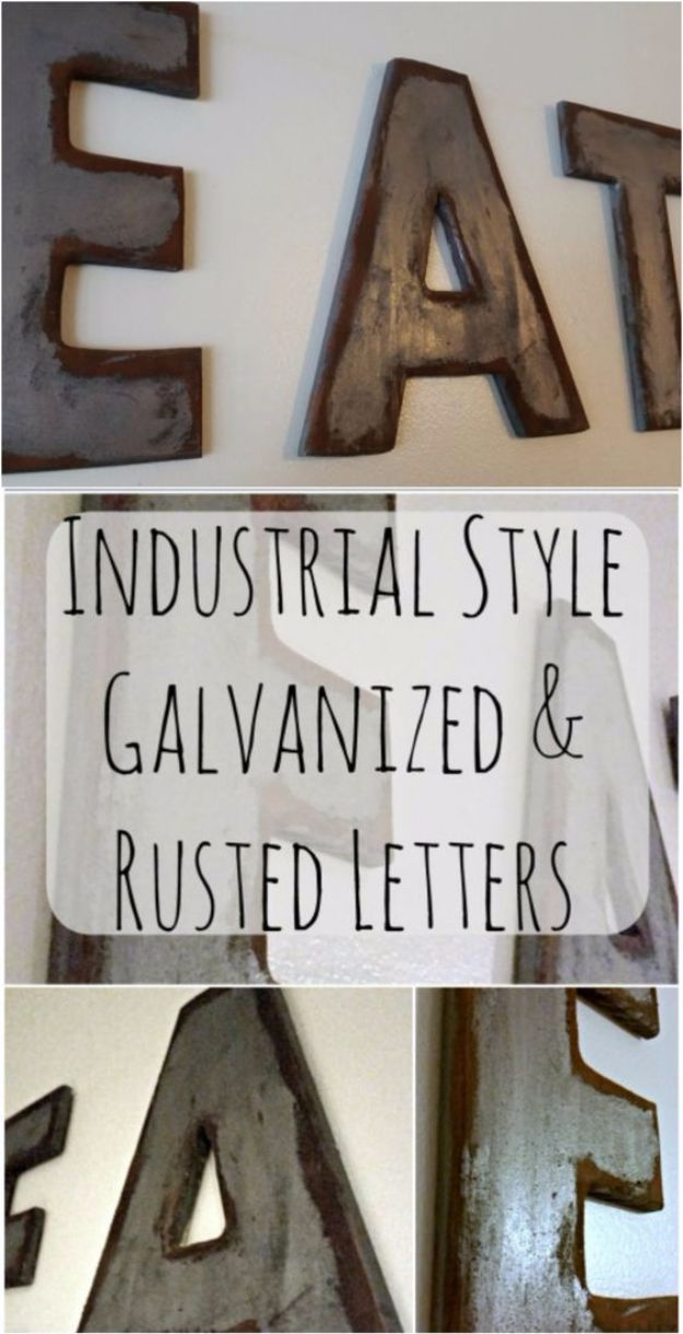 DIY Wall Art Ideas and Do It Yourself Wall Decor for Living Room, Bedroom, Bathroom, Teen Rooms | Industrial Style Galvanized & Rusted Letters Wall Art | Cheap Ideas for Those On A Budget. Paint Awesome Hanging Pictures With These Easy Step By Step Tutorial