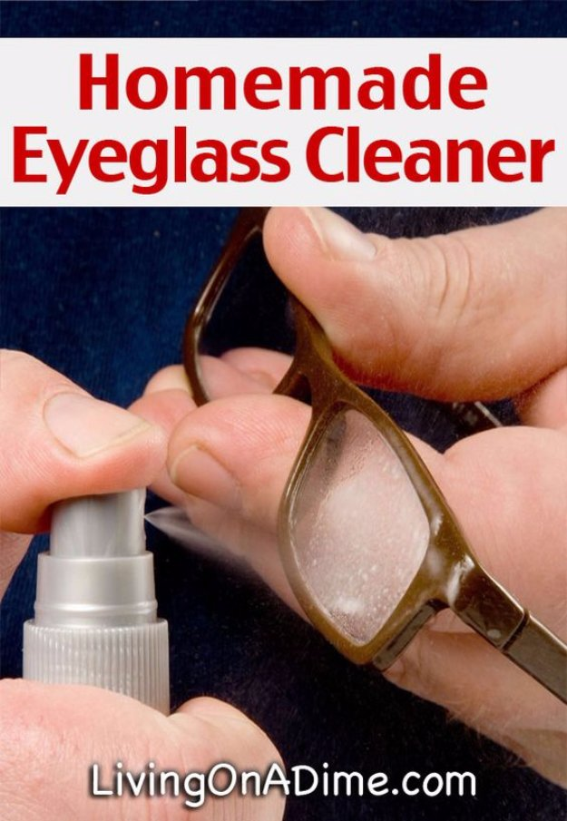 Best Natural Homemade DIY Cleaners and Recipes - Inexpensive Homemade Eyeglass CLeaner Recipe - All Purposed Home Care and Cleaning with Vinegar, Essential Oils and Other Natural Ingredients For Cleaning Bathroom, Kitchen, Floors, Laundry, Furniture and More