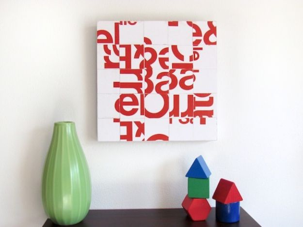 DIY Wall Art Ideas and Do It Yourself Wall Decor for Living Room, Bedroom, Bathroom, Teen Rooms | Junkmail Typography Collage Art | Cheap Ideas for Those On A Budget. Paint Awesome Hanging Pictures With These Easy Step By Step Tutorial